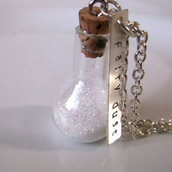 Fairy dust necklace charm necklace with by sierranicoledesigns