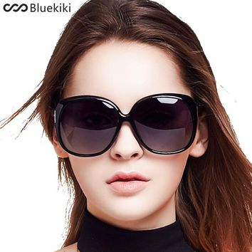 KIKI Women Polarized Sunglasses Retro Big Round PC Frame Brand Design Black Sun Glasses Luxury Ladies Driving gafas de sol mujer