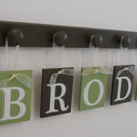 Nursery Decorations Wooden Letters. Set Includes 5 Hangers and Custom Baby Name BRODY Painted Light Green and Brown. Personalized Baby Gift
