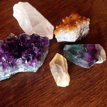 Intuitively Chosen Set Raw Crystal Set Crystal Collection Raw Crystal Healing Crystals and Stone Bohemian Decor Meditation Stones Minerals