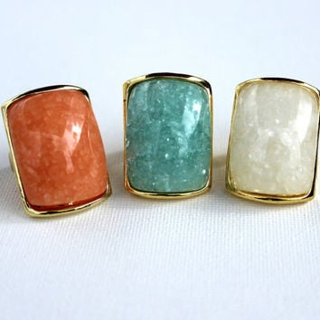 Cream Stone  Ring -  Statement Ring - Mint  Cocktail Ring - Bridesmaid gift  by Tiny Box