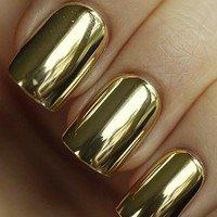 Mirror Golden Nail Wrap Manicure Nail Art