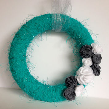 Turquoise yarn wreath with grey and white felt flowers- 12 inches