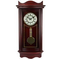 """Bedford Clock Collection Weathered Cherry Wood 25"""" Wall Clock with Pendulum"""