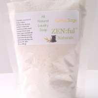 CIJ SALE 15% Off- Citrus Sage Laundry Soap,, Laundry Detergent, Handmade Soap, Natural Cleaning, Laundry Powder 10 oz