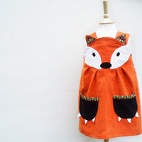 TODDLER DRESS Little Fox Girls dress orange by wildthingsdresses