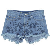 Raw Hem Floral Printed Denim Shorts