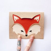 Fox Face Card: Hand Cut Card--Custom Message--All Occasion Card