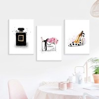 Minimalist Wall Picture Poster Prints Perfume High Heels Canvas Painting Art Pictures For Beauty Shop Home Decor No frame