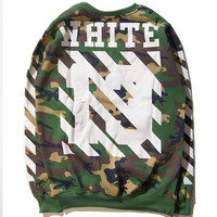 Pullover Winter Camouflage Stripes Couple Hoodies [8926152076]