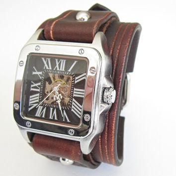 Leather watch cuff hand-made men women wrist watch
