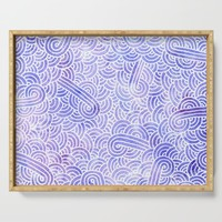 Lavender and white swirls doodles Serving Tray by savousepate