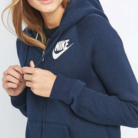 Nike Rally Full Zip Navy Hoodie - Urban Outfitters