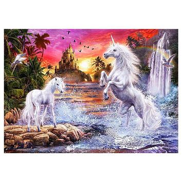 Two White Horse Diamond Embroidery 5D Diamond Painting Rhinestones Cross Stitch Craft Mosaic Pictures Home Decor