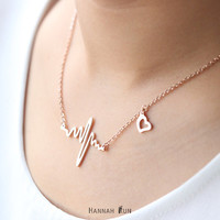 Rose Gold Heartbeat Necklace, Heart beat Jewelry, Heart Necklace