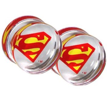 DC Comics Superman Clear Acrylic Saddle Plugs 2 Pack - Buy Online at Grindstore.com
