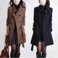2017 New Fashion Women Trench Woolen Coat Winter Slim Double Breasted Overcoat Winter Coats Long Woolen Coat for Women Wool Coat