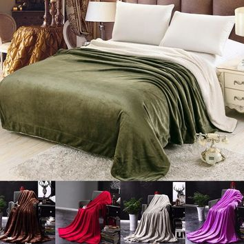 Warm Flannel Blanket Coral Plaid for Sofa Air Throw Travel Manta Soft Blanket for Beds Throws Fleece Blanket Manta Coberto
