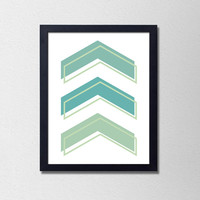 Blue and Green Minimalist Chevron Poster. Geometric Print. Modern Home Decor. Office Art. Bedroom Decor. Chevron Poster. Minimalist Print.