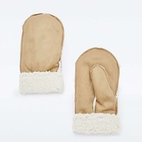 Tan Shearling Mittens - Urban Outfitters