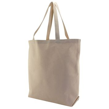 12oz Canvas Heavy Duty Reusable Grocery Tote Bag Bottom Gusset - WTG200