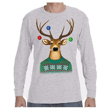 XtraFly Apparel Men's Reindeer Wearing  Sweater Ornaments Ugly Christmas Long Sleeve T-Shirt