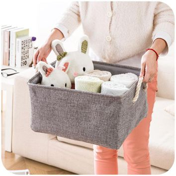 Organizers / Bags - Free Shipping - Storage Basket - Plain linen fabric with handle - Gray