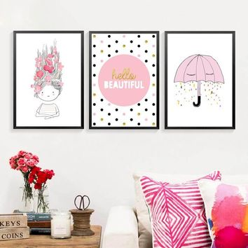 Hello Beautiful English Letters Cartoon Pink Girls Children Room Wall Decoarion Canvas Painting Art Wall Posters Prints HD0048