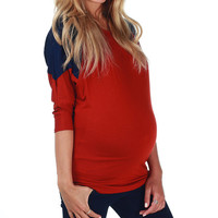 Red & Navy Maternity Three-Quarter Sleeve Top - Women | zulily