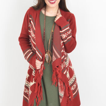 Maroon, Cream, and Charcoal Cardigan with Winter Pattern
