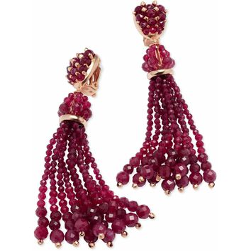 Kendra Scott: Cecily Rose Gold Clip On Statement Earrings In Maroon Jade