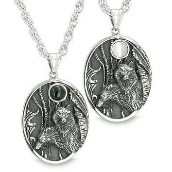 Mother and Son Wolf Family Set Amulet Wild Woods Moon Energy White Cats Eye Onyx Pendant Necklaces