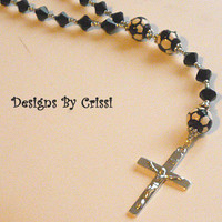 Soccer First Communion Rosary Prayer Beads, Gift for Boys/ Girls with Swarovski Crystals & Sterling Silver Cross
