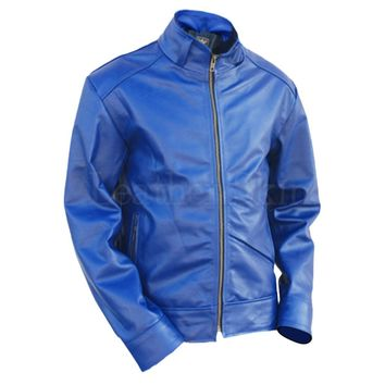 Blue Unisex Quilted Leather Jacket