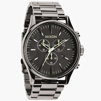 Nixon The Sentry Chrono Watch Polished Gunmetal/Lum One Size For Men 24408011201
