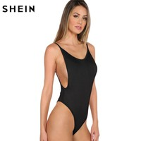 SHEIN Sexy Bodysuit Women Jumpers and Rompers Sexy Club Bodysuits Black Strap Scoop Back Sleeveless Cami Bodysuit