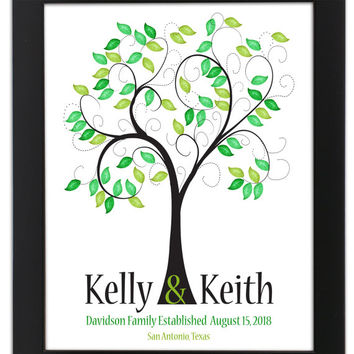 fingerprint guest tree, Love Birds, Wedding Poster, Thumbprint Stamp Tree guest book, THUMBPRINT TREE, 20x24 num.141