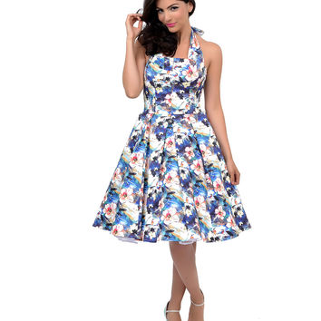 Iconic by UV 1950s Style Blue Watercolor Floral Halter Flirty Swing Dress