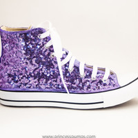 Lavender Purple Sequin Converse Hand Sequined Hi Top Canvas Sneaker Shoes