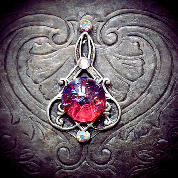 Dragon Stone Bindi, dragon's breath, mexican fire opal, glass cabochon, Art Nouveau, tribal fusion bellydance, gypsy costume, fairy jewelry