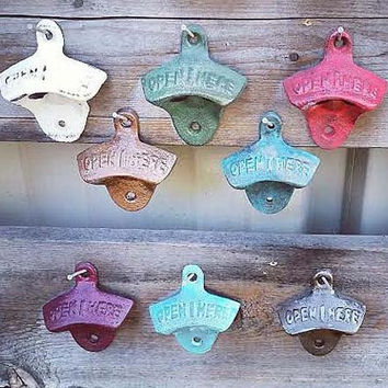Bottle Opener, Cast Iron, Mounting Screws Included, Gift for Dad, Groomsman gift, Pick your color, Bar decor, Patio Decor, Man Cave, GIFT