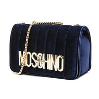 """MOSCHINO"" Hot Sale Women Shopping Bag Velvet Metal Chain Shoulder Bag Crossbody Satchel Navy Blue"