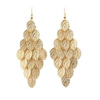 Dangling Leaf Chandelier Earrings by Charlotte Russe - Gold