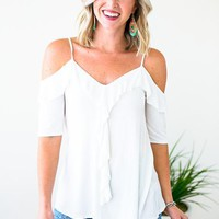 Make Your Plans Cold Shoulder Ruffle Tank