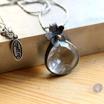 Teardrop Clear Quartz Oxidized Aged Cherry Blossom Necklace Faceted Pear Shaped Gemstone