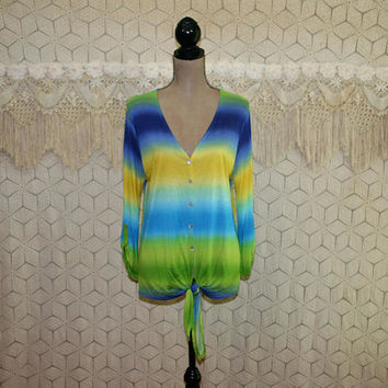 Women Stripe Shirt Button Up Blouse Rayon Knit Top Tie Waist Ombre Blue Green Yellow Medium Large V Neck Crop Sleeve Casual Womens Clothing