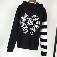 Chrome Hearts New fashion pattern print hooded long sleeve sweater Black