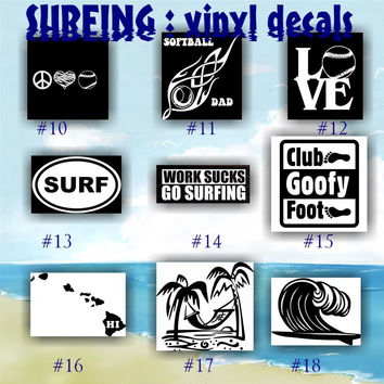 SURFING vinyl decals - 10-18 - SURFER vinyl decal - Surfer GIRL car window stickers - car decal - car sticker - custom vinyl decal