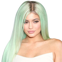 30Inches Kylie Jenner Green Omber Long Straight Wigs Fashion Party Synthetic Women Pastel Natural Cheap Black Hair Root Wig