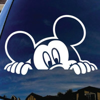 "Mickey Mouse Peeking Car Window Vinyl Decal Sticker 5"" Wide"